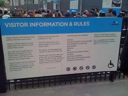 rules at 9/11 memorial