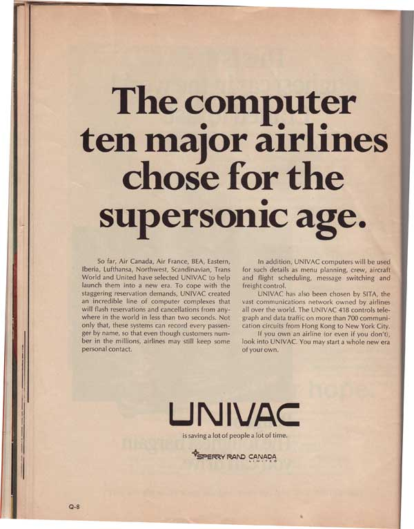 The UNIVAC is saving a lot of people a lot of time